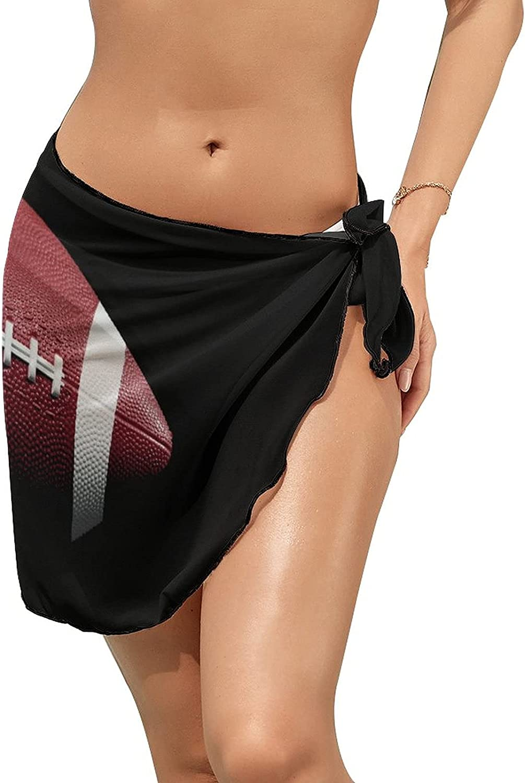 JINJUELS Women's Bikini Swimsuit Cover Up Football Black Summer Beach Wrap Skirt Pareo Sarong
