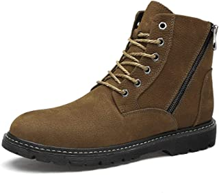 SHENTIANWEI Ankle Boots for Men Work Boots Lace up Round Toe Side Zipper Genuine Leather High Top Flat Heel Anti-Slip Stitch (Fleece Inside Optional) (Color : Khaki Plush, Size : 6 UK)