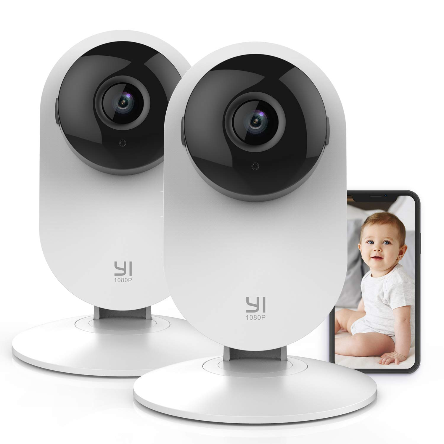 Yi Baby Monitor with Camera and Audio HD WiFi Pet Cam, Sound Motion Human Detection, 2-Way Audio, Smartphone app, Night Vision, Cloud Storage, Nanny Baby Elder, Works with Alexa 2pc