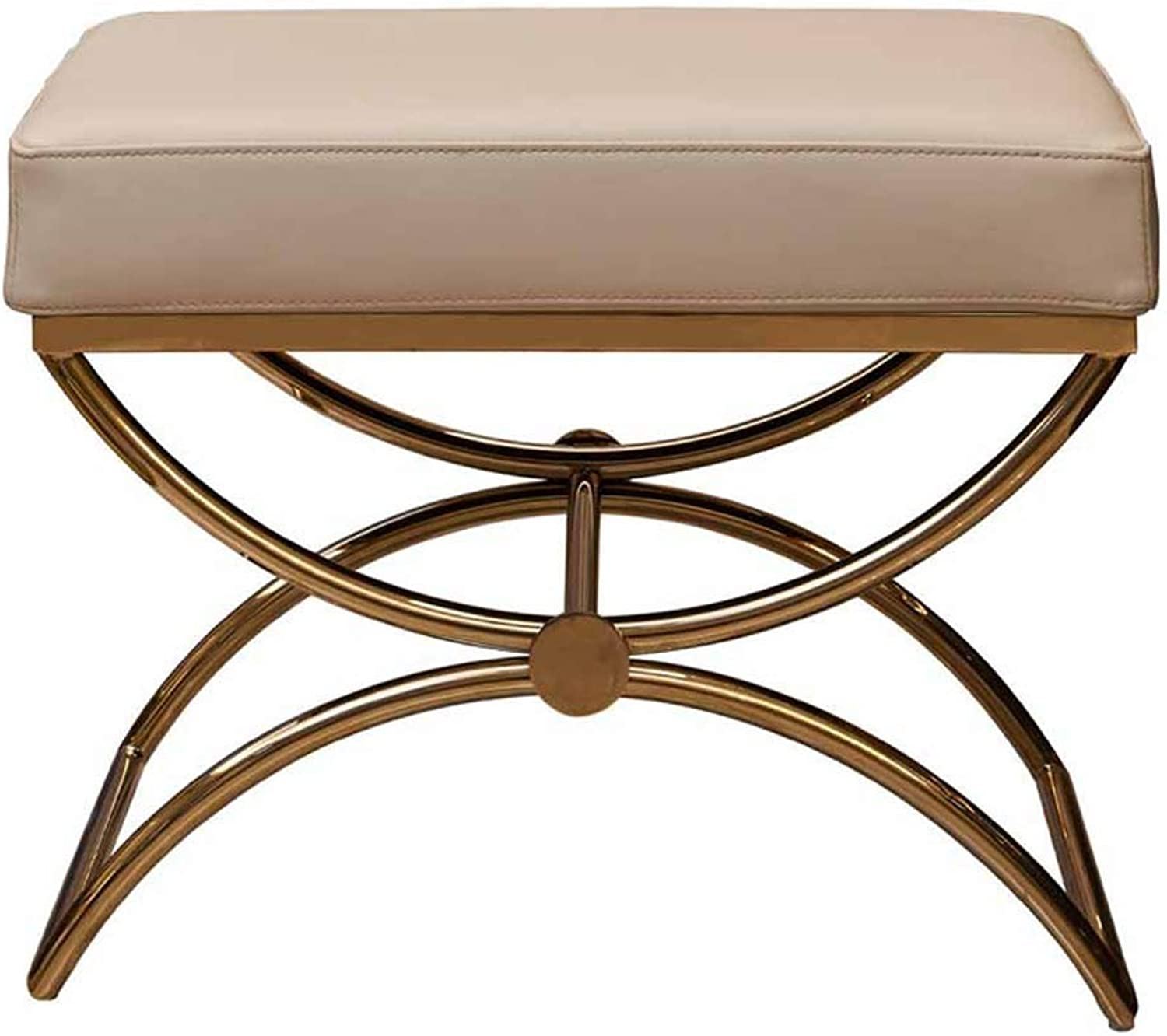 Stool Nordic Modern Home Change shoes Stool Stainless Steel Sofa Stool Multi-Function Makeup Stool gold 55  42  40cm CONGMING (color   gold, Size   55  42  40cm)