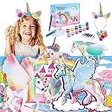 Herefun 58pcs Unicornio para Pintar DIY Kit, Unicornio Regalo Kit Pintura y Accesorios completar, Pintar Unicornio Pinceles Colores y Gemas, Pintar Juegos para Niñas Cumpleaños y Fiestas