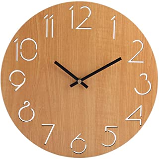 Huanxidp Wall Clock Living Room Minimalist Modern Home Round Personality Silent Solid Wood Fashion(Light Brown 8 inch