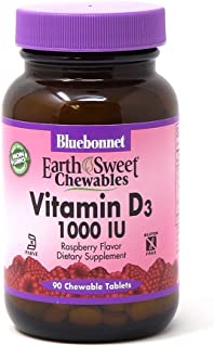 Bluebonnet Nutrition Earth Sweet Vitamin D3 1000 IU Chewable Tablets, Aids in Muscle and Skeletal Growth, D3, Non GMO, Gluten, Free, Soy Free, Milk Free, Kosher, 90 Chewable Tablets, Raspberry Flavor