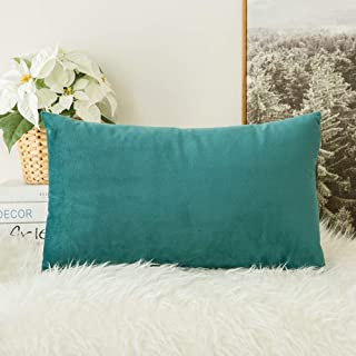 Best MIULEE Velvet Soft Soild Decorative Square Throw Pillow Covers Teal Cushion Case for Sofa Bedroom Car 12 x 20 Inch 30 x 50 cm Review