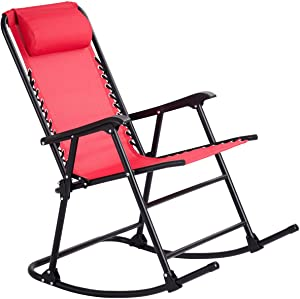 Folding Zero Gravity Ergonomic Design Rocking Chair Red Fabric Rocker With Armrest Backyard Patio Lawn Deck Outdoor Garden Pool Side Use Comfortable Headrest Glider Porch Seat Solid Construction