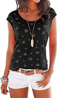 Shirt Damen T-Shirt Oberteile Sexy Oberteil für Damen Tops Sommer Ärmellos Rundhals mit Sterne