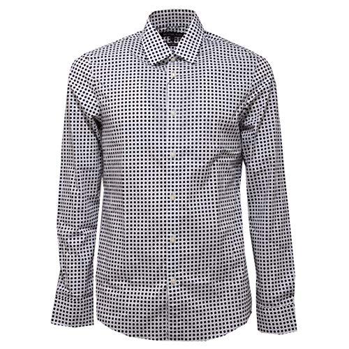 Michael Kors 5611AC Camicia uomo Stretch White/Blue Pois Shirt Men [S]