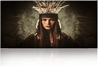TUMOVO Canvas Wall Art Native American Indian Girl White Feather Woman in Traditional Indian Garment and Headdress Portrait Canvas Picture for Living Room Home Decor Frame Painting (24''Wx48''H)