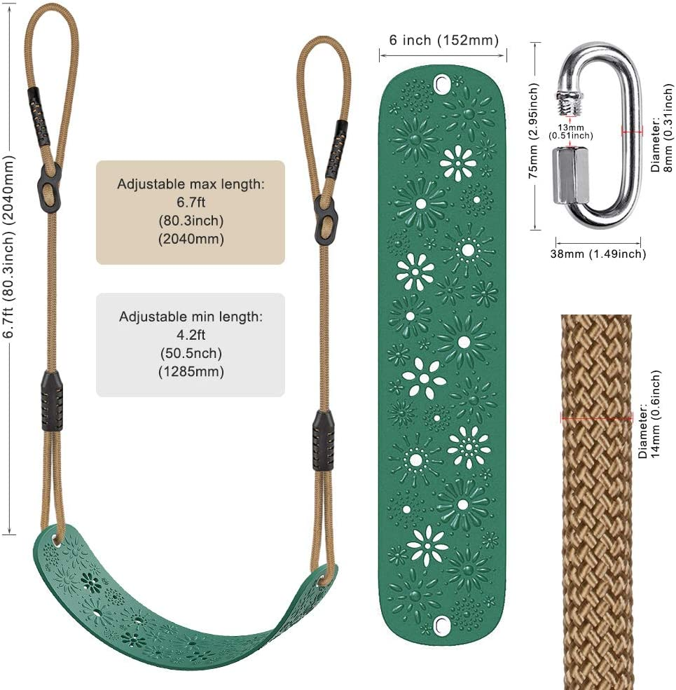 Adjustable Rope Playground Swing Set Accessories Replacement Green Longest 6.7ft Seat Width 27.2 600LB Weight Limit Shortest 4.2ft BeneLabel Heavy Duty Swing Seat with Carabiners