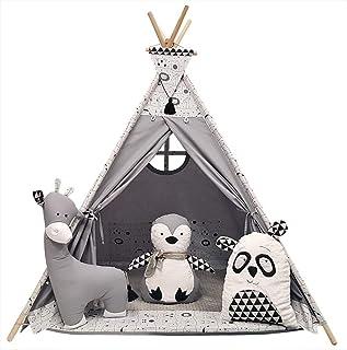 Izabell Barn lektält tepee tipi set för barn inomhus utomhus leksak tält indiantipi med fönster tipi med tillbehör tipitäl...