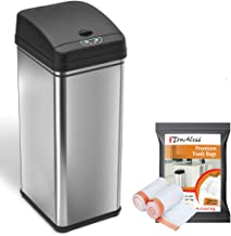 iTouchless 13 Gallon Automatic Trash Can with 10 Trash Bags, Stainless Steel, Big Lid Opening Touchless Sensor Kitchen Gar...