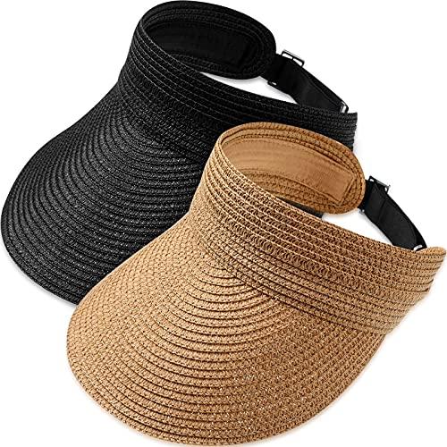 2 Sombreros Enrollables de Paja ala Ancha con Visera Gorro Plegable para...