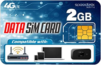 Sponsored Ad - SpeedTalk Mobile 2GB Data Only SIM Card – 30 Days No Contract Service - 4G LTE USA Nationwide Domestic and ...