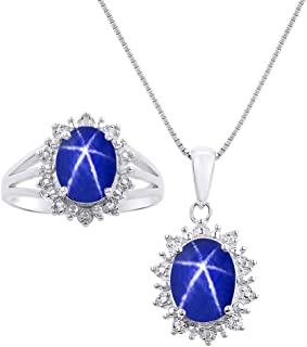 RYLOS Princess Diana Inspired Halo Pendant Necklace & Matching Ring - Oval Shape Gemstone & Genuine Sparkling Diamonds in ...