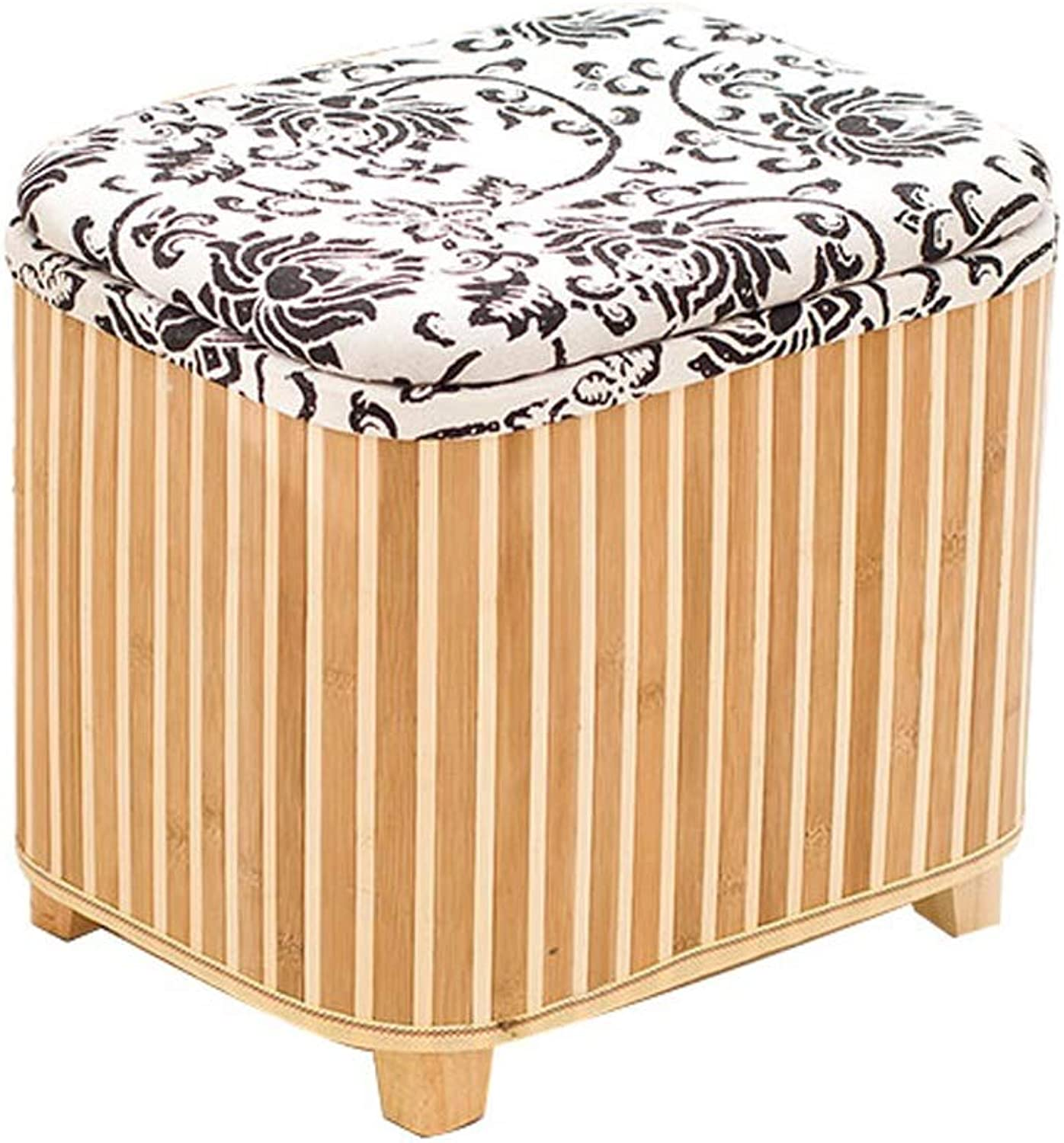 LifeX Nordic Style Flower greenical Stripes Bamboo Storage Stool Box Footstool Home Living Room Sofa Stool Hall Cotton Change shoes Bench Dressing Stool Seat Size Optional (color   L)