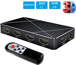 4K@60HZ HDMI Switch, 4 Port 4 x 1 HDMI 2.0 Switch Box with IR Wireless Remote Control, HDCP 2.2, HDR/UHD/HD, HDMI Switcher for PS4 Xbox Fire Stick Blu-Ray Player