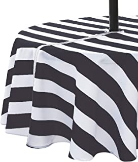 VCVCOO Outdoor Picnic Tablecloth Waterproof Anti-Stain, Polyester Patio Tablecloths with Zipper Umbrella Hole for Party,Black and White Striped Table Cloth Machine Washable 60 Inch Round