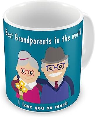 Gift for Family Grandparents Grandma Grandpa Birthday Anniversary I Love You So Much Blue Printed Best Quality Ceramic Mug Everyday Gifting