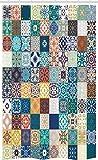 ABAKUHAUS Marokkanisch Schmaler Duschvorhang, Patchwork Stil Muster, Badezimmer Deko Set aus Stoff mit Haken, 120 x 180 cm, Mehrfarbig