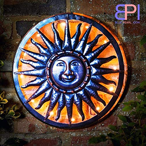 Solar Powered Metal Sun Garden Ornaments Wall Art Outdoor Decoration Lights