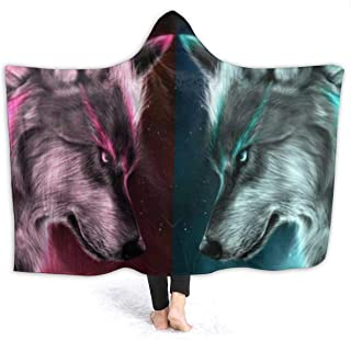 FONDSILVER Fire Ice Wolf Galaxy Hooded Blanket Adults Warm Plush Super Soft Wearable Throw Blanket 3D Printed Sherpa for Women Girl Gift 50