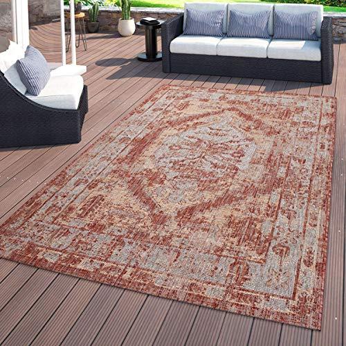 TT Home Alfombra de Interior y Exterior, para el balcón, con diseño Oriental, En Rojo, Größe:80x150 cm