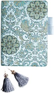 Notebook Cover A5,PU Leather Cover Refillable Notebook with Multi- Postcards Pocket,Pen Holder, for Daily Planner Dairy Agenda Schedule Bullet Journal Book A5 Filler Paper (Teal Mandala Flower)