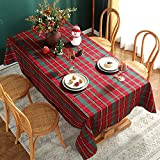 Christmas Tablecloth Red,Plaid Rectangle Xmas Metallic Fabric Table Cloth Dust-Proof Wrinkle...