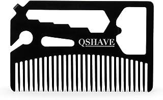 QSHAVEの多機能ユーティリティーコームは、お財布の中に納まります(コーム、ボトルオープナー、レンチ、プラスドライバー、ブレークアウェイブレードナイフ)