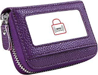 Women's RFID Blocking 12 Slots Credit Card Holder Leather Accordion Walletpurple