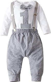 Haokaini Baby Erste Geburtstagskleidung Junge Fliege Strampler Bodysuit Kuchen Zerschlagen Outfits