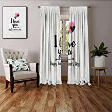 FOEYESEE Fabric Window Curtain Romantic Happy Valentine`s Day Themed Composition with Love Phrase Arrow and Heart Pink Black White Boys Girls Bedroom Dorm W72 xL63