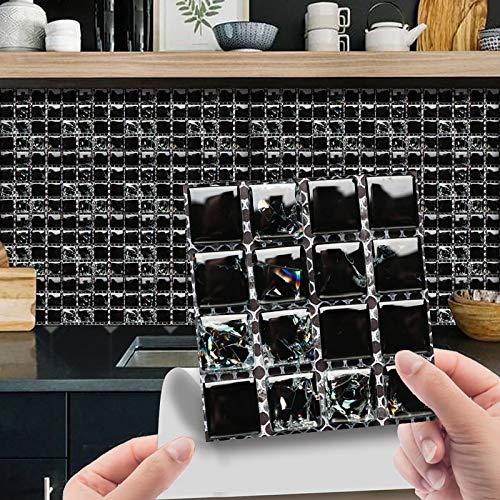 Juego de 10 adhesivos para azulejos en 3D, diseño de mosaico de cristal, azulejos de pared, adhesivos para cocina, baño, adhesivos decorativos, resistentes al agua, decoración negra, 10 cm x 10 cm