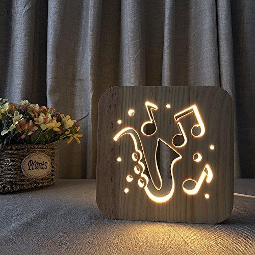 Saxophon Holz LED Nachtlicht USB Powered Kinder Schlafzimmer Lampe Kinder Geschenk