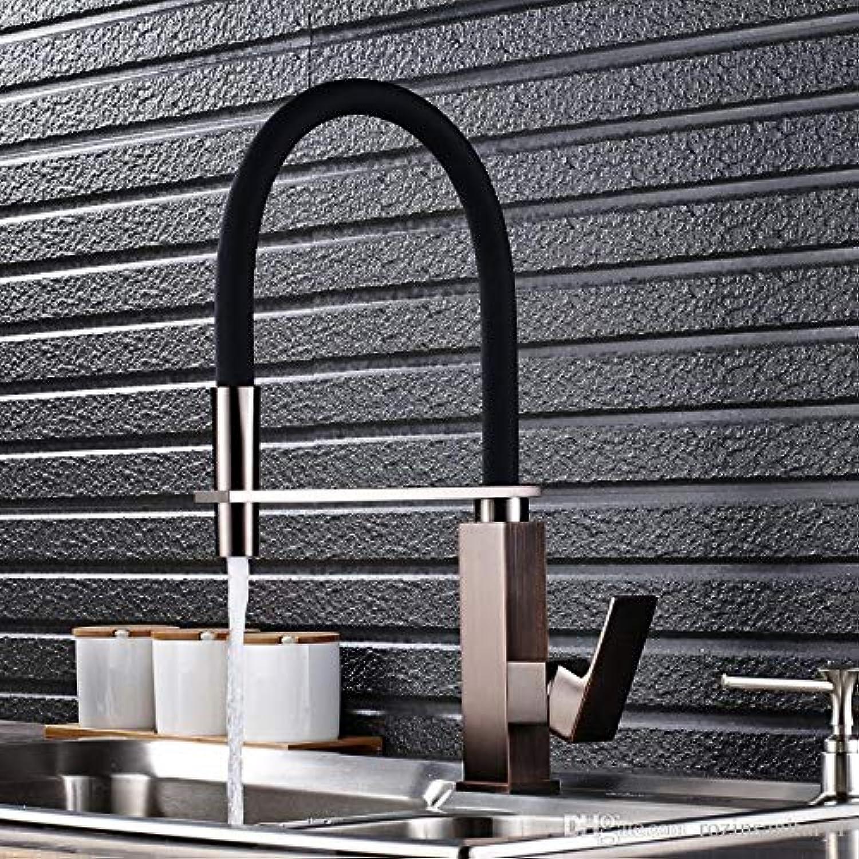 Decorry Küchenspüle Wasserhahn Einzigen Handgriff Herausziehen Mischbatterie Mit Schwarzem Gummi Krper Nickel Gebürstet