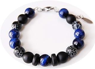 Bracciale da uomo, agata nera, onice smerigliato, occhio di falco, lapislazzuli, pietre 10mm, nero e blu, idea regalo