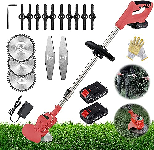 21V Electric Grass Trimmer Strimmers , Battery Powered Heavy Duty Metal Blade Cordless Garden Trimmer, Adjustable Head And Telescopic Handle,red