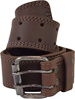 """Hide & Drink, Two Row Stitch Reinforced Leather Belt Rustic Double Prong Buckle,1.5"""" Wide Handmade :: Bourbon Brown (Size 38)"""