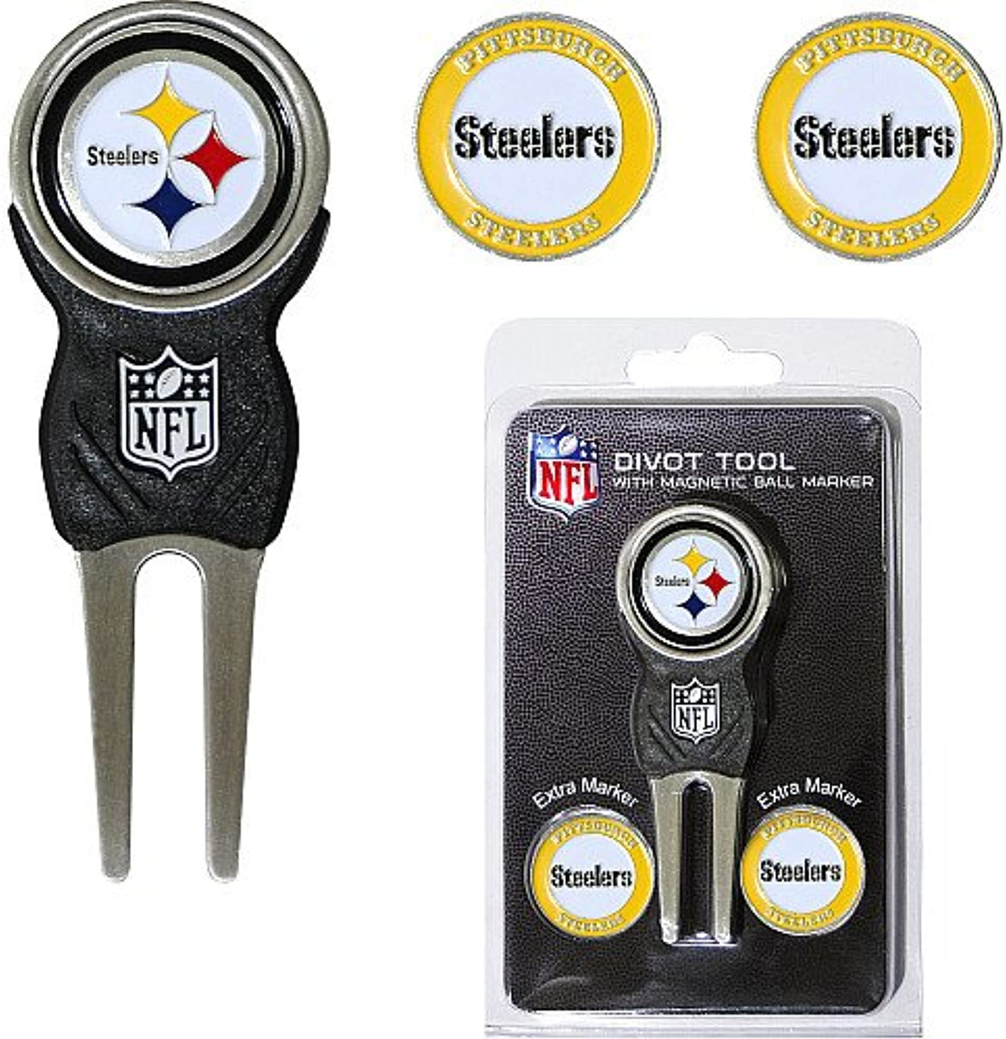Pittsburgh Steelers NFL Divot Tool w  Three Double Sided Ball Ma