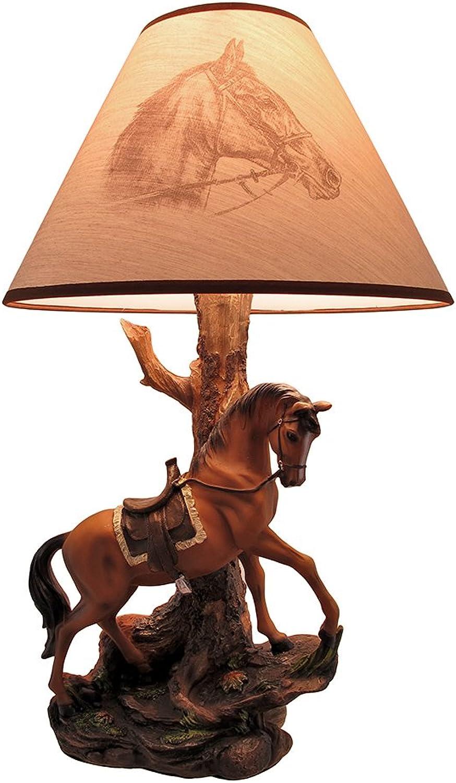`Light Fantastik` Saddled Horse Table Lamp With Printed Fabric Shade