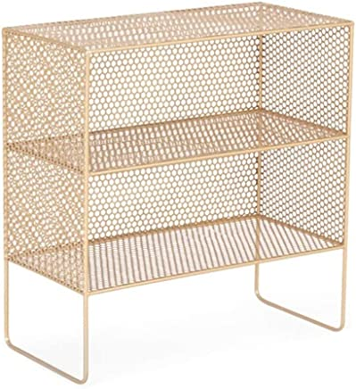 NILINFAN Simple Wrought Iron Bedside Bookshelf - Living Room Storage Shelf Floor Bookcase Simple Wrought Iron Bedside Cabinet Storage Rack Bedroom Shelf (Color : Gold, Size : 60x30x62cm)