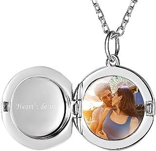 Custom4U Collane personalizzate, medaglioni con ciondolo foto in argento sterling 925 per ragazze, collana incisa con nome...