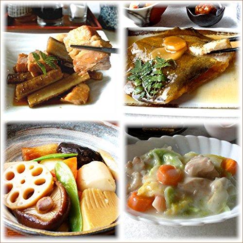 【京惣菜四点盛りJセット】 カレイの煮つけ(1袋)豚バラとごぼうの旨煮(1袋) ごった煮(1袋) 白菜とベーコンの椎茸ピリ辛煮(1袋) 4種類×1パック 合計4パック