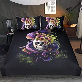 Juego de ropa de cama de 3 piezas, conjunto gótico con diseño de calavera de dragón floral 3D, funda nórdica muy suave, cómoda, estampada moderna, 140 x 210 cm
