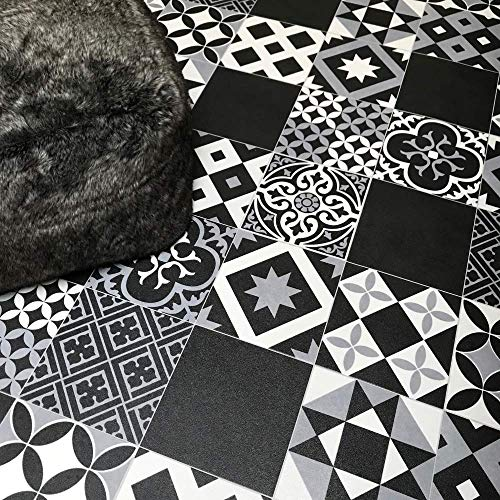 Victorian Tile Effect Sheet Vinyl Flooring Black, Grey & White Geometric Patterned Kitchen & Bathroom Cushioned Lino Roll Vivre 90 - Multiple Sizes Available (1.5m x 2m)