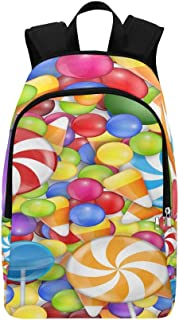 Sweets Background with Lollipop Candy Corn and Gu Casual Daypack Travel Bag College School Backpack for Mens and Women