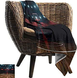 BelleAckerman Travel Blanket,Teen Room,Professional Basketball Arena Stadium Before The Game Championship Sports Image,Multicolor,Cozy Hypoallergenic, Easy to Carry Blanket 60