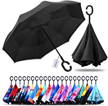 Owen Kyne Windproof Double Layer Folding Inverted Umbrella, Self Stand Upside-Down Rain..