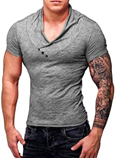 Mogogo Men's V-Neck Fashion Hipster Muscle Longline Tee Top T-Shirt