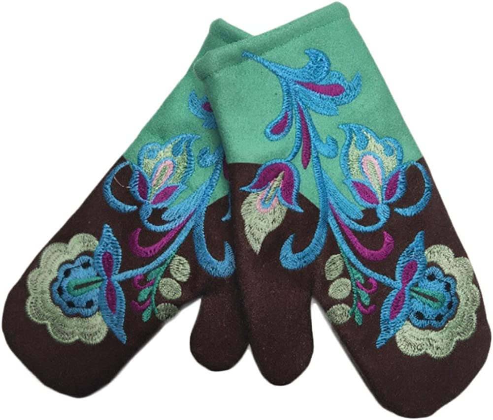 Avilego Women's Colorful Halloween Christmas Embroidered Color Gloves Winter Mittens Fashion Warm Gloves